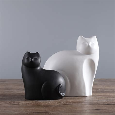 2pcs set black and white ceramic cats figurine animal