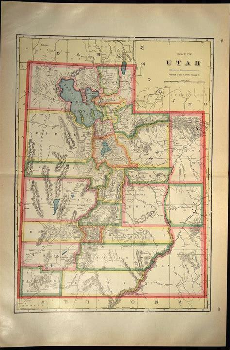 Utah Map of Utah Wall Art Decor LARGE Antique Colorful