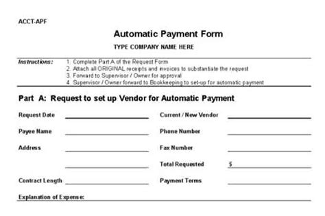 payment form template procedures for small business checklist