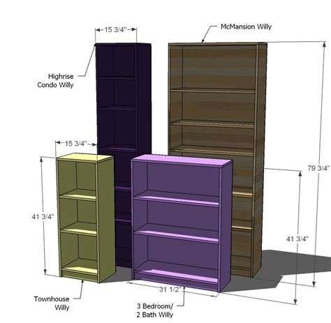 Ana White Build A Willy Bookcase In Four Sizes Free Diy Bookshelves Plans