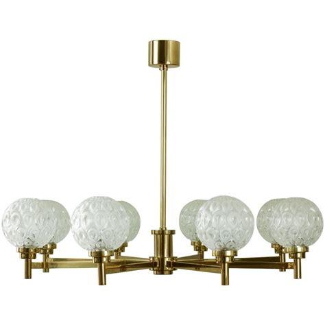 Glass Globe Chandelier Kaiser Leuchten Eight Arm Brass Chandelier With Frosted Cut Glass Globes At 1stdibs