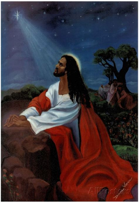 black jesus christ kneeling religious print poster 13 x