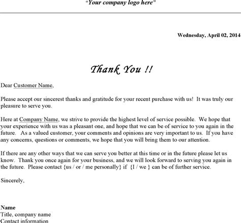 thank you letter to our customers business thank you letter for free tidyform