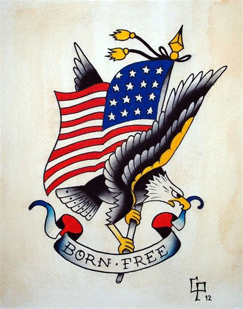 american traditional eagle tattoos born free eagle design tattoos