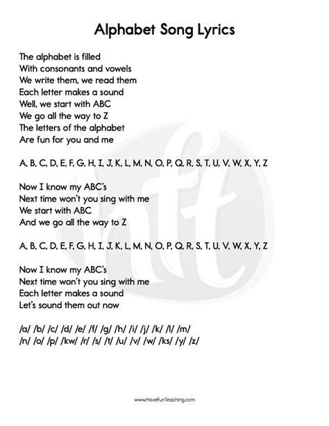 Alphabet Letters Song alphabet songs lyrics teaching