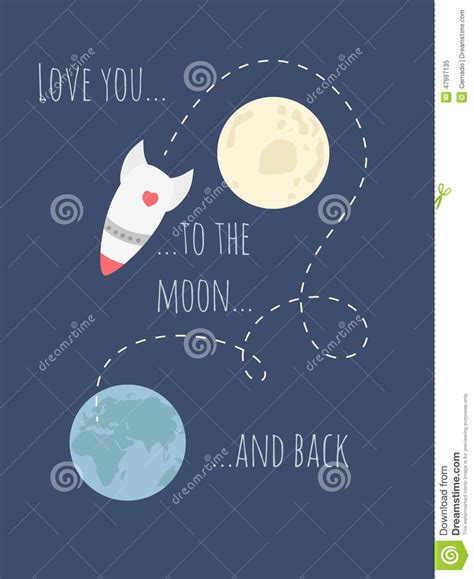 to the moon and back valentines day card template you to the moon and back stock illustration