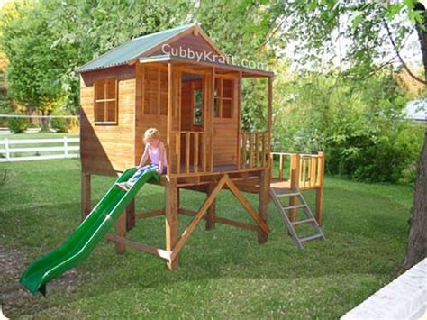 swing set cubby house eagles nest cubby house backyard playhouses by cubbykraft
