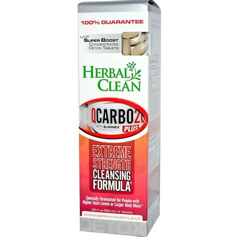 Detox To Clean System by Herbal Clean Qcarbo Plus With Booster Strawberry Mango
