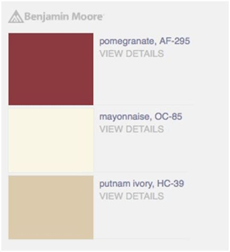 bold palette with quot pomegranate quot quot mayonnaise quot beige quot putnam ivory quot light taupe paint