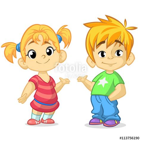 anime boy or girl pt 2 quot cute cartoon boy and girl with hands up vector