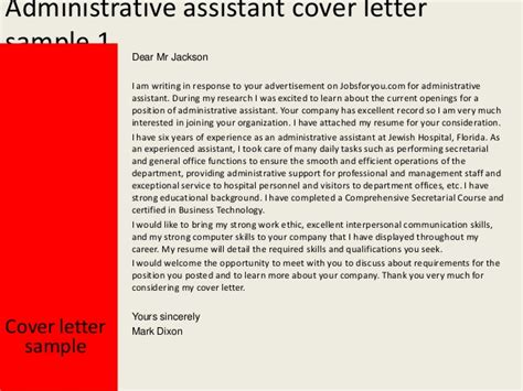 sample cover letters for administrative assistant isale