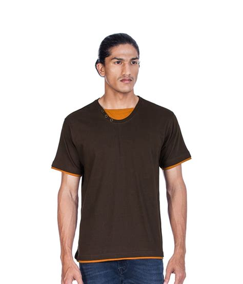 zovi chocolate brown crew neck solid t shirt buy zovi chocolate brown crew neck solid t shirt