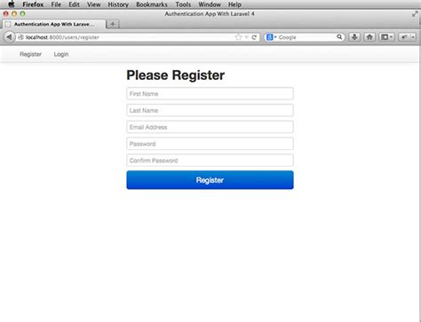 laravel register tutorial authentication with laravel 4