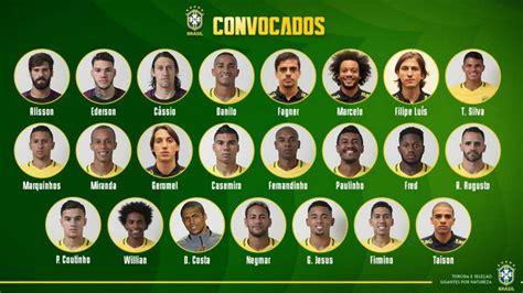 alineaci 243 n de brasil en el mundial 2018 lista y dorsales