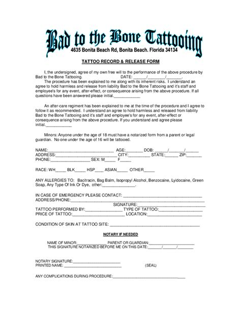 tattoo waiver liabilty waiver form 3 free templates in pdf