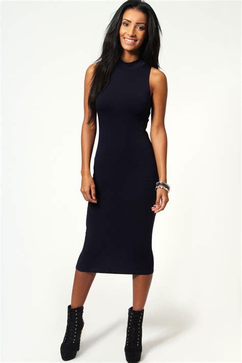 Sleeveless Bodycon Midi Dress boohoo womens billie high neck sleeveless midi
