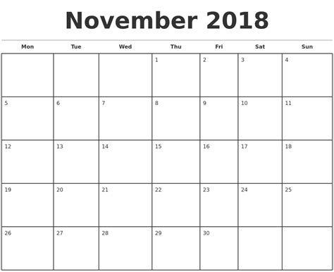 free download printable calendar 2018 large box holidays listed