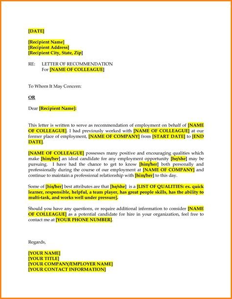 Recommendation Letter Sle For A Colleague sle recommendation letter for a colleague cover