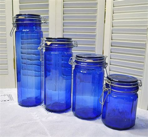 kitchen cobalt blue glass canister set cobalt blue vintage cobalt blue glass canister set of 4 wire and bale