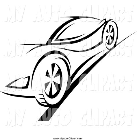 sports car black and white clip of a black and white sports car on a road by