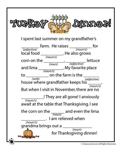 mad libs printable thanksgiving mad lib turkey dinner woo jr