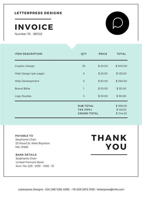 invoice maker design  custom invoice  canva