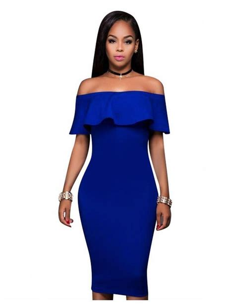 Slim Fit Bodycon Dress store the shoulder ruffle slim fit