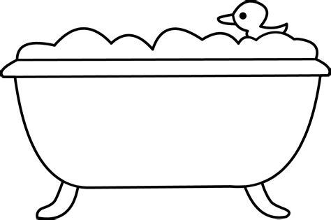 Bathtub Outline bath tub and rubber ducky line free clip