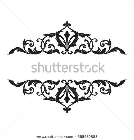 black and white floral pattern name vintage baroque frame scroll ornament engraving stock