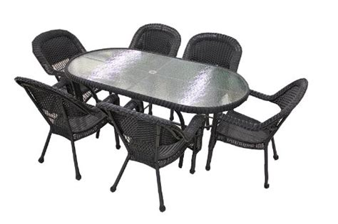 Black Resin Patio Chairs Where To Buy 7 Black Resin Wicker Patio Dining Set 6 Chairs And 1 Dining Table Baqi