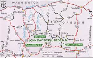 day oregon map information about day fossil beds national monument