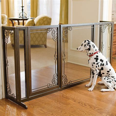 34 Quot H Expandable Free Standing Steel Mesh Pet Gate Dog Gate