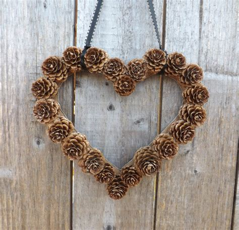 pine cone home decor instant download wall decor diy heart shaped pine cone wreath