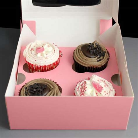 Box Cupcakes pink windowed cupcake boxes with 4 cavity insert