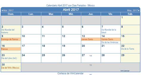 calendario d abril asignacion 2017 calendario abril 2017 para imprimir m 233 xico