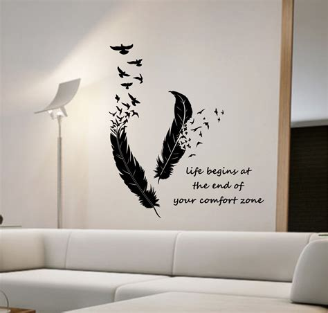 bedroom wall art stickers feathers turning into birds vinyl wall decal sticker art