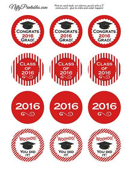 printable graduation stickers 2015 red graduation cupcake toppers printable 2016 by