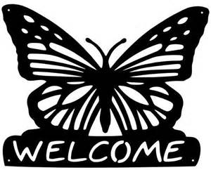 steel butterfly welcome sign metal wall plaque home