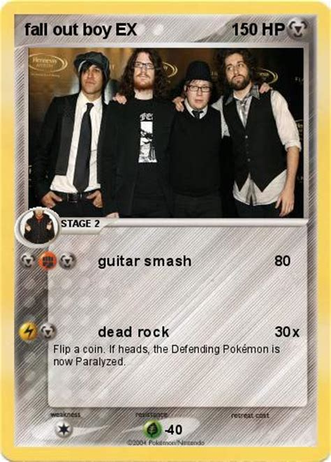 fall out boy cards pok 233 mon fall out boy ex guitar smash my card
