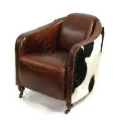 Brown Cowhide Desk Chair Distressed Brown Cigar Rocket Chair W Cowhide Sides