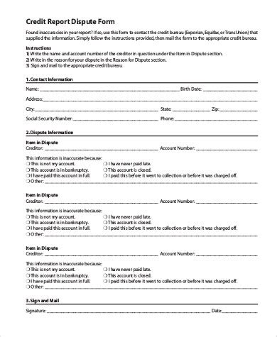 Free Credit Repair Form Letters credit report dispute form business form templates