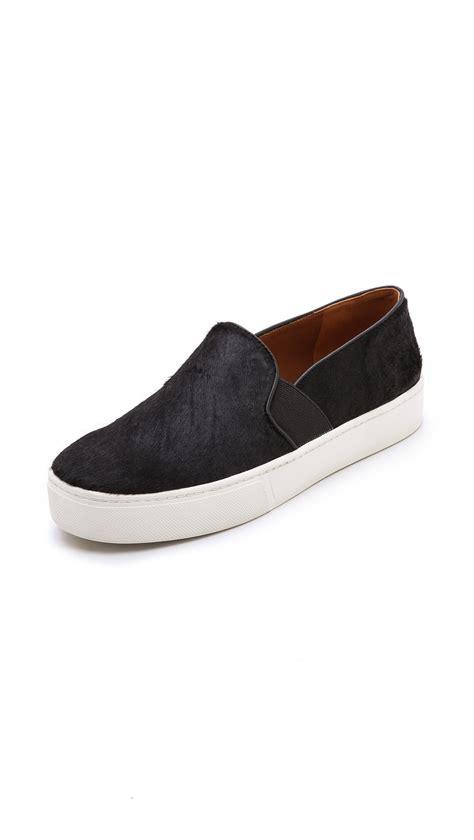 vince sneaker vince blair haircalf slip on sneakers black in black lyst