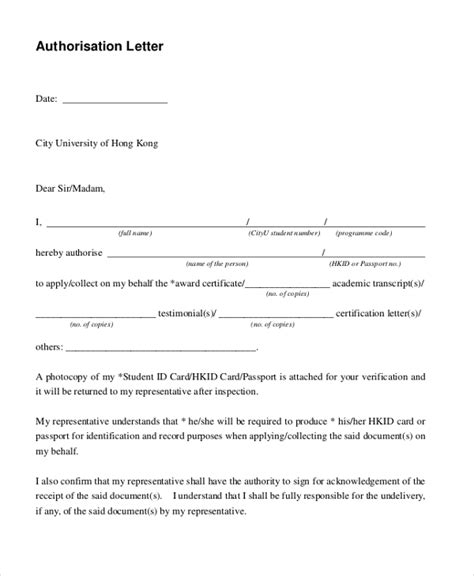 sample letter authorization forms