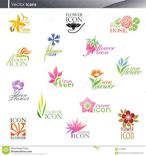 flowers vector logo template set stock vector image