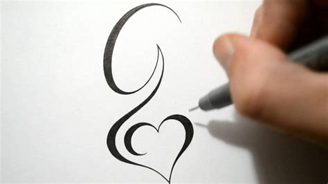 initial tattoos with design designing simple initial g design calligraphy style