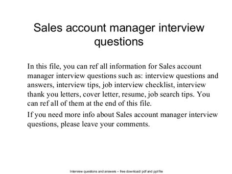sales account manager questions