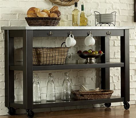 keaton ii kitchen serving table on casters rotmans