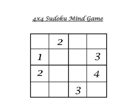 printable sudoku 4x4 4x4 sudoku 7