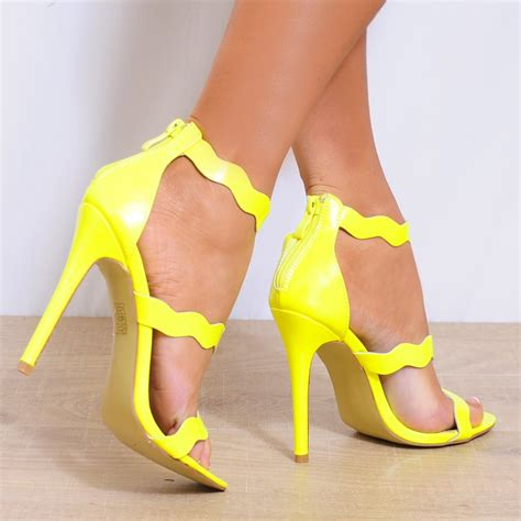 yellow high heel sandals bright yellow barely there strappy sandals high heels peep