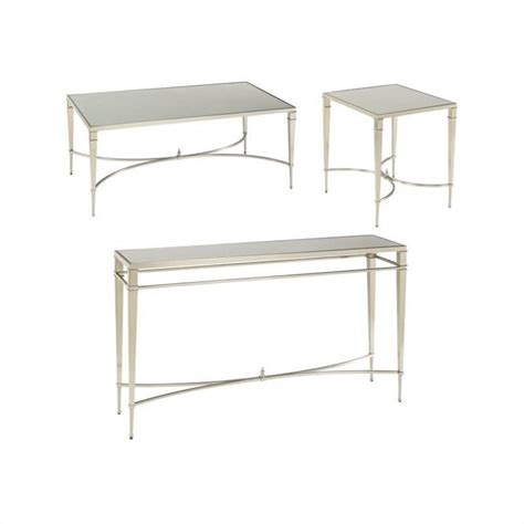Hammary Mallory 3 Piece Coffee Table Set In Satin Nickel Hammary Mallory Rectangular Coffee Table